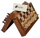 Magnetisches Souvnear-Schach-Set - 26,7x 26,7cm - zusammenklappbares Schachbrett mit 2extra Königinnen und Reisetasche - Premium-Qualität-Palisander-Schach-Spiel mit integriertem Speicher