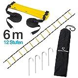 #DoYourFitness Koordinationsleiter/Fitnessleiter - Länge 4m 6m 8m - Trainingsleiter (ENGL Agility Ladder) BZW. Konditionsleiter für Beweglichkeitsübungen/Schnelligkeitstraining 6m gelb/schwarz