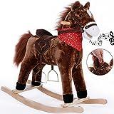 Schaukelpferd Schaukeltier Plüsch Schaukel Wippe Pferd Kinder Baby Spielzeug GeräuscheSteigbügel+ZaumzeugBalancetraining