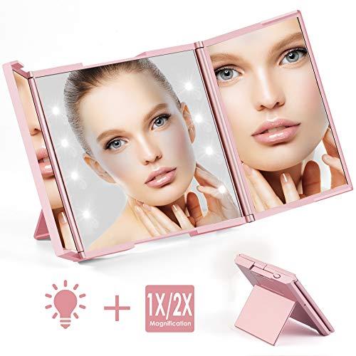Quntis Tragbarer Kosmetikspiegel mit 8 LED Licht, 1-/ 2-Fach Vergrößerung, Beleuchteter Schminkspiegel Batteriebetrieb, Klappbarer Make UP Spiegel für Reise Tasche Unterwegs (Klein, Rosegold)