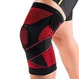 Kuangmi, atmungsaktive Kniebandage mit Silikon-Ring, Stabilisierung fur anspruchsvolle Sportarten, verstellbare Bandage, gestrickt, Schwarz, XX-Large (Single)