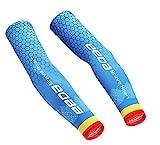 Bwiv Unisex Arm Ärmel für Sport UV Schutz UPF 40+ Wabenmuster Arm Kühler für Aktivitäten im Freien 1 Paar Blau M