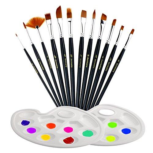 TedGem 12 Künstlerpinsel , 2 Mischpalette, Wasserfarben Pinsel Set, Pinsel Mit Palette Malerei / Paint Tray Palette Künstler Malerei Pinsel-Set für Anfänger, Kinder, Künstler und Gemälde Liebhaber (schwarz)