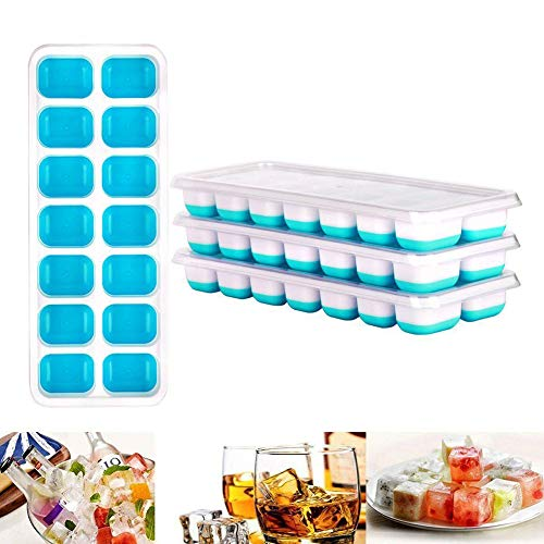 Queta Eiswürfelbehälter, 4 Eiswürfelbehälter Silikon Mit Deckel Ice Cube Tray 14-Fach Für Whiskey, Cocktail, Getränke, Weiß + Blau