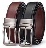 TERSE Ledergürtel Herren,Business und Anzug Freizeit Gürtel aus echtem Leder,Schwarz und Braun Wendegürtel,35mm breit, Schwarz01, 110CM