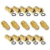 5x Verbinder 10x F-Stecker Set 7mm Vergoldet mit Gummidichtung breite Mutter für Koaxial Antennenkabel Verlängerung Sat Kabel BK Anlagen HB-Digital