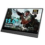 Gaming Monitor, 39,6 cm (15.6') Tragbarer Display IPS 4K HDR mit Eingänge OTG HDMI Typ-C Mini DP Schnittstelle Zwei Lautsprecher für Laptop Switch Mac Windows PS3 PS4 Xbox Game Console Raspberry Pi