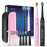 Fairywill 2 Elektrische Zahnbürste Doppelpack Schallzahnbürste - Putzen Sie Ihre Zähne wie beim Zahnarzt mit 10 Aufsteckbürsten 5 Reinigungs-Modi 2 Reise-Etuis, 4 Stunden hält Min 30 Tage FW507