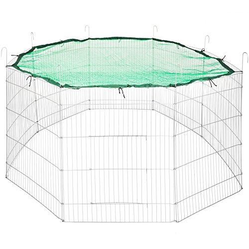 TecTake Freilaufgehege mit Schutznetz für Nager und Kleintiere | aus 8 Gitterelementen Ø 204 cm | Schwarz