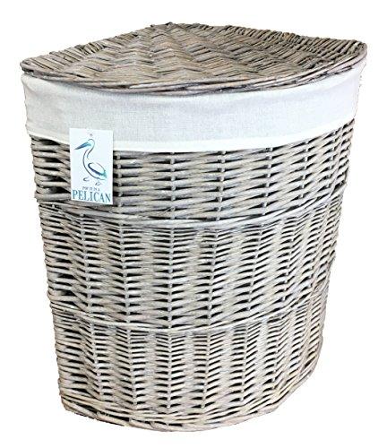 Wäschekorb, mit herausnehmbarem Innenfutter, für die Ecke, Korbgeflecht, gefüttert, Medium, gebogen, Grau