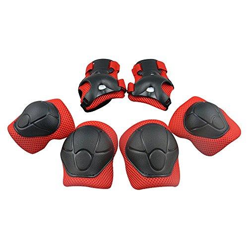 GIM Kind 's Pad Set mit Knie Ellenbogen und Handgelenk Schützer kinder Protektoren Schutzset Rot