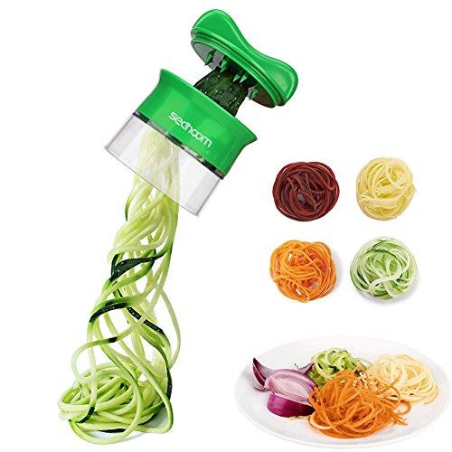 Sedhoom Spiralschneider Hand für Gemüsespaghetti Gemüsehobel für Karotte, Gurke, Kartoffel,Kürbis, Zucchini, Kunststoff, Black, 12.5 x 9 x 9 cm