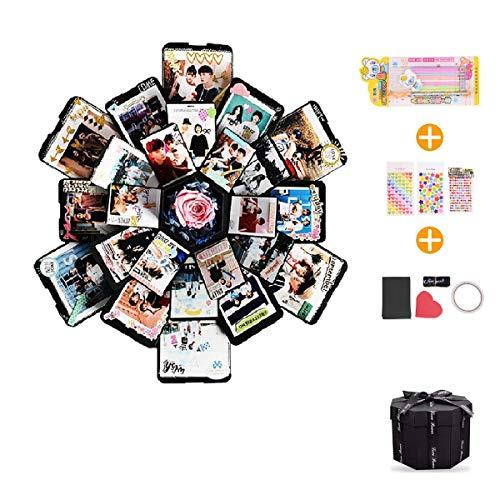 EKKONG Kreative Überraschung Box Explosions-Box DIY Faltendes Fotoalbum,Geschenkbox mit 6 Gesichtern,Geburtstag Jahrestag Valentine Hochzeit Geschenk, für Hochzeit, Muttertag, DIY Geschenk (schwarz)