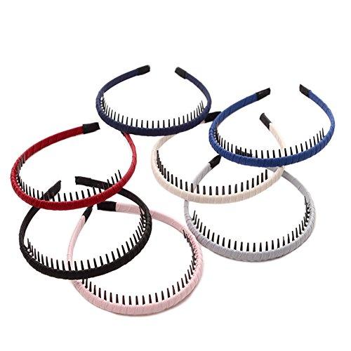 HugeDE 6 Stück Tuch Bedeckt Kunststoff Haarreifen Stirnband Haarspange Haarband