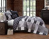 Restmor Tagesdecke Steppdecke mit Quilt Patchwork Design, Zweiseitig - Gesteppter Bettüberwurf - Erhältlich in 3 Größen mit Kissenbezug (Double (230x250cm), Jumana)