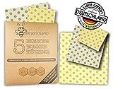 Bienenmann 5 Stück Beeswax Wraps Wachstücher für Lebensmittel   Bienenwachs Bees Wraps Wachspapier für Lebensmittel   Bienenwachstücher 100% Plastikfrei   Größen Im Set L, M, S