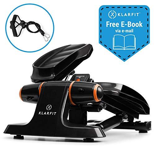 Klarfit Galaxy Step Ministepper mit Power Ropes Fitness-Stepper Up-Down-Stepper für Anfänger & Fortgeschrittene (LCD-Display, bis 120 kg, inkl. Fitness eBook) schwarz-orange