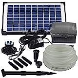 Agora-Tec AT-Solar Bachlaufpumpen - Set 10W-BLH mit Akku und 6- fach LED Ring inklusive 9 Meter Bachlaufschlauch und LED Halterung, Hmax.: 600l/h Förderhöhe: 2,45 m bei Verwendung eines Schlauches