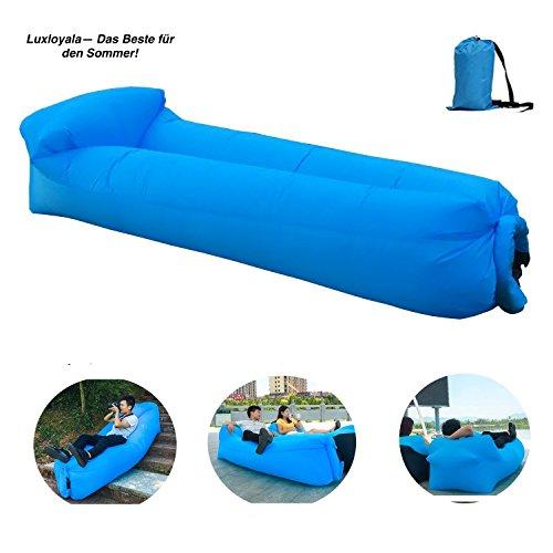 Hochwertige Premium Wasserdichtes aufblasbares Sofa, Luft sofa,Luft couch, mit integriertem Kissen, tragbarer aufblasbarer Sitzsack, Aufblasbare Couch, aufblasbares Outdoor-Sofa, lazy lounger für Camping, Park, Strand, Hinterhof , Wasser Aktivitaeten(blau)