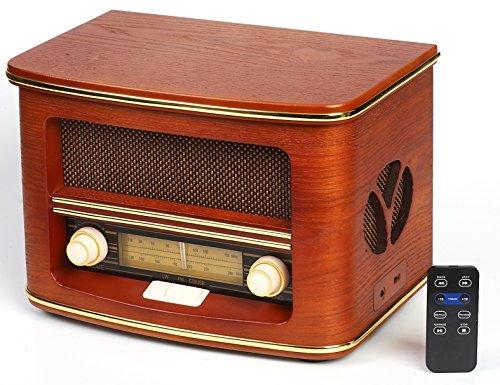 Cyberlux Nostalgie Kompaktanlage | Retro Radio Holz mit CD Player | USB Wiedergabe | Musikanlage Retro Style | Stereoanlage | Fernbedienung | Küchenradio | Vintage Optik | Nostalgieradio |