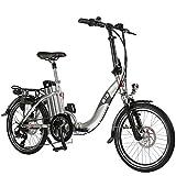 E-Bike Elektro Faltrad AsVIVA B13 silber mit 36V 15,6Ah Samsung Akku, extrem kompakt | 20' Klapprad mit 7 Gang Shimano Kettenschaltung, Scheibenbremsen LED Beleuchtung | Elektrofahrrad