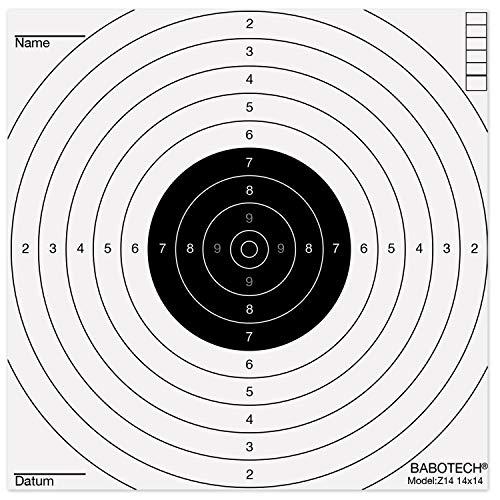 Babotech Luftgewehr Zielscheiben 14x14cm für Pistole Luftgewehr Airsoft [ Target Zielscheibe für Kugelfang ] (Made in Germany) - 100er Pack