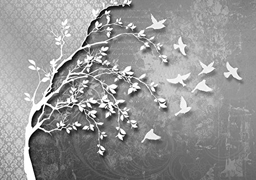 DekoShop Fototapete Vlies Tapete Moderne Wanddeko Wandtapete Dekoration Silber Baum mit Vögeln AMD10231VEXXXL VEXXXL (416cm. x 254cm.) Tapetenkleister und Überraschungsaufkleber Gratis
