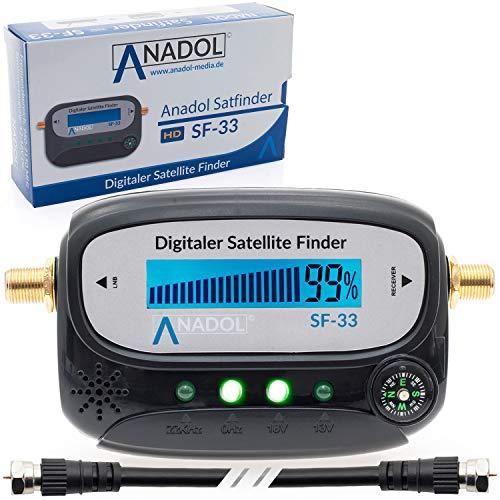 Anadol SF33 LCD Satfinder Messgerät mit Kompass, Ton, Verbindungskabel, deutsche Bedienungsanleitung und vergoldete F-Stecker Anschlüsse zur Justierung Ihrer Sat Antenne/Unicable kompatibel