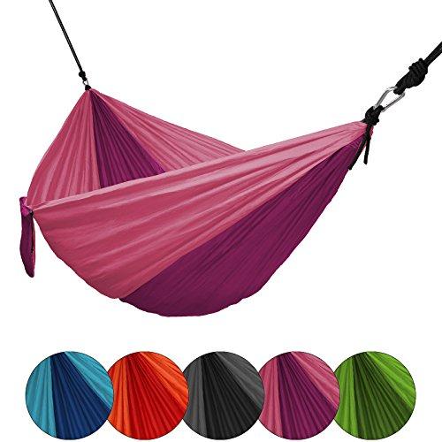 Hängematte Ultraleicht aus Fallschirm Nylon 265 x 140 cm Traglast 300 kg Reisehängematte Outdoor Camping Reise-Hängematte inkl. Befestigungs-Set, Farbe:Purple Rose