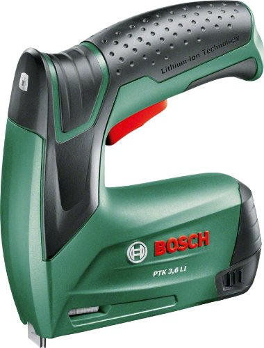 Bosch Akku Tacker PTK 3,6 LI (1000 Klammern, Ladegerät, Metalldose, 3,6 Volt)