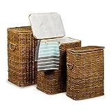 Relaxdays Wäschekorb 3er Set geflochten Rattan eckig HBT 54,5 x 45,5 x 33,5 cm stapelbare Wäschetruhe mit herausnehmbarem Wäschesack waschbar Wäschebox ca. 69 L Wäschesammler atmungsaktiv, honigbraun
