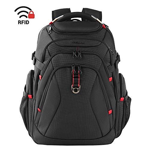 KROSER Schule Laptop Rucksack 17,3 Zoll Reise XL Schwerlast Daypack Business Rucksäcke Wasserdicht Großer mit USB Ladeanschluss RFID Tasche für Männer/Frauen/College-Schwarz MEHRWEG