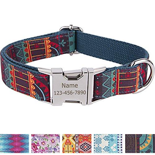 Vcalabashor Personalisiertes Hundehalsband mit Hundename und Telefonnummer/Strapazierfähiger Stoff mit Mode-Muster und Metallschnallen/Für große und extra große Hunde/Grünliches Blau