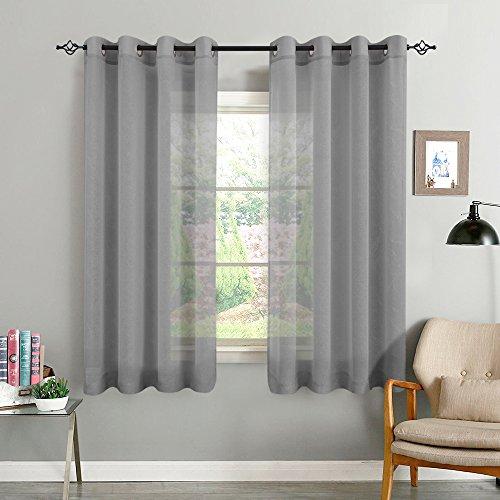 TOPICK Voile Vorhang mit Ösen transparent Gardine 2 Stücke Gaze paarig Ösenschals Fensterschal Vorhänge 175 cm x 140 cm ( H x B ), 2er - Set, Grau