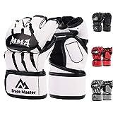Brace Master MMA Handschuhe UFC Handschuhe Leather Padding für Männer, Frauen, Knöchelgelenkschutz, Fingerlose Sparring-Handschuhe für das Training, Kickboxen, Muay Thai, Boxen (Weiß L)