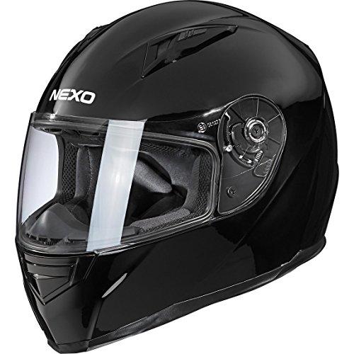 Nexo Motorradhelm, Vollvisierhelm, Integralhelm Basic II, herausnehmbares Komfortpolster, Be- und Entlüftung, Nasen-, Kinnwindabweiser, klares, kratzfestes Visier, Ratschenverschluss, Schwarz, XL