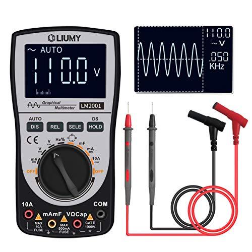 LM2001 Oszilloskop Multimeter,LIUMY Mini-oszilloskop Automatisches Wellenform-Multimeter, automatischem Messbereich mit 4000 Zählung, 20kHz Bandbreite, Präzise Anzeige AC/DC Wellenform, Farbschirm