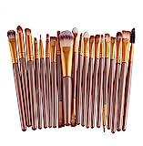 Cosanter 20er Set Make-up Kosmetik Pinsel-Set Auge Lidschattenpinsel Powder Foundation Wimpernbürste Pinsel für Damen Mädchen, Plastik, Goldfarben, 15 cm