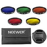 Neewer 52mm Farbfilter Set für NIKON Kameras, Set beinhaltet: 5 x 52mm Farbfilter + 1 x 52mm Zentrale Pinch Objektivdeckel mit Hut-Clip-Gurt + 1x Filter Tragetasche