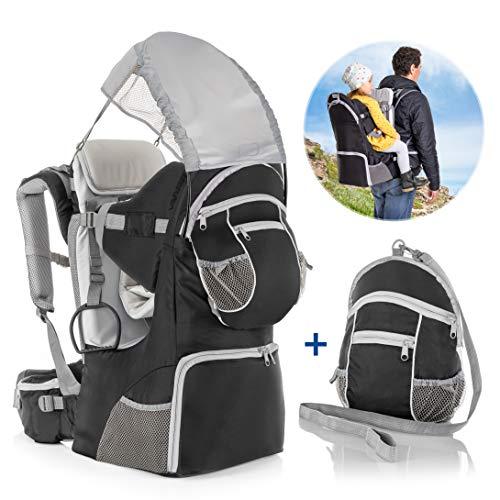 Fillikid Rückentrage - Rücken Babytrage mit Sonnenschutz, Gurt, Kinder Rucksack und Staufächern | Kraxe zum Wandern mit Baby und Kleinkind, bis 18 kg - Grau