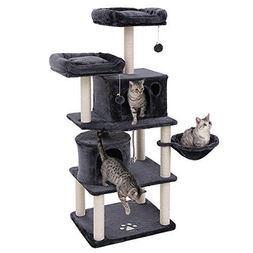 FEANDREA Stabiler Kratzbaum mit Sisal-Kratzstangen, Plüsch-Sitzmulden, Einem Korb und 2 Häuschen, Kletterbaum für Katzen, RauchGrau PCT90G