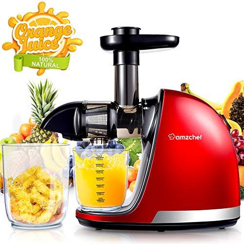 AMZCHEF Slow Juicer BPA-frei Entsafter Gemüse und Obst Profi Entsafter mit Ruhiger Motor & Umkehrfunktion & Saftkanne & Reinigungsbürste(150 Watt/Rot)