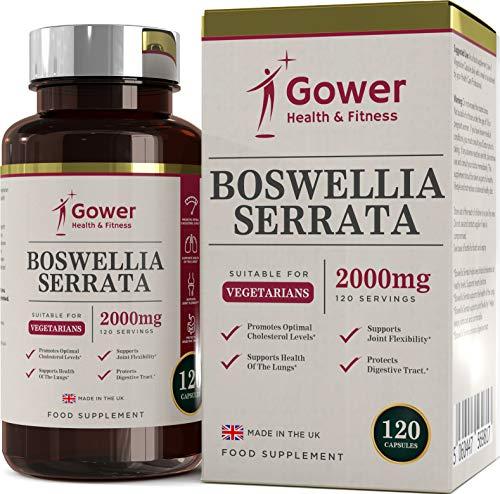 Boswellia serrata (Weihrauch) Extrakt 5:1 (entspricht 2000 mg) | 120 Kapseln | STARK ENTZÜNDUNGSHEMMEND | Muskel- & Gelenkgesundheit | 4 Monate Vorrat | Aus ISO-zertifizierten Betrieben in GB
