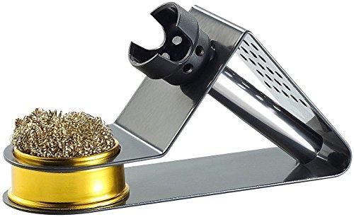 AGT Lötkolbenständer: Kompakter Lötkolbenhalter mit Spiralwolle (Lötkolbenablage)