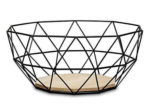 levandeo Korb Metall Schwarz 26x12cm Modern Holz MDF Braun Schüssel Schale Deko Design Tischdeko