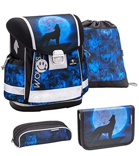 Belmil Schulranzen Set 4 - teilig ergonomischer Schulranzen Jungen 1. klasse 2. klasse 3. klasse - Super Leicht 850-940 g/Grundschule/Wolf blau (403-13 Wolves Blue)