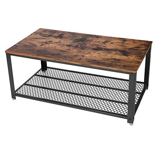 SONGMICS Couchtisch Vintage Tisch mit Ablagefach metall gestell für Wohnzimmer 106,2 x 45 x 60,2 cm LCT61X