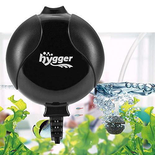 Hygger Sauerstoffpumpe für Aquarium, Superleise Aquarium Luftpumpe Geräusch niedriger als 33db 1.5W Leistungsstark Sauerstoffpumpe 420Ml/M Geeignet für Fischbecken und Die Nano Aquarien (Schwarz)