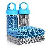 Unigear Sporthandtuch Reisehandtuch 2 STK. Set, 100cm x30 cm, mit Kühl-Effekt, Ultraleicht Weich saugfähig Schnelltrocknend, für Laufen Fitnessstudio Yoga Trekking