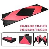 Tragbar Klappbar Gymnastikmatte Rose und Schwarz - CCLIFE Weichbodenmatte Yogamatte Turnmatte Klappmatte Fitnessmatte Faltbar Größenwahl, Größe:300x120x5cm